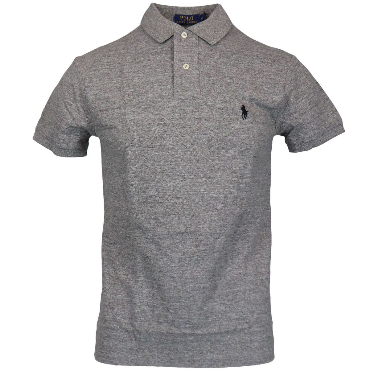 Two-button slim-fit cotton polo shirt with logo Grey Polo Ralph Lauren