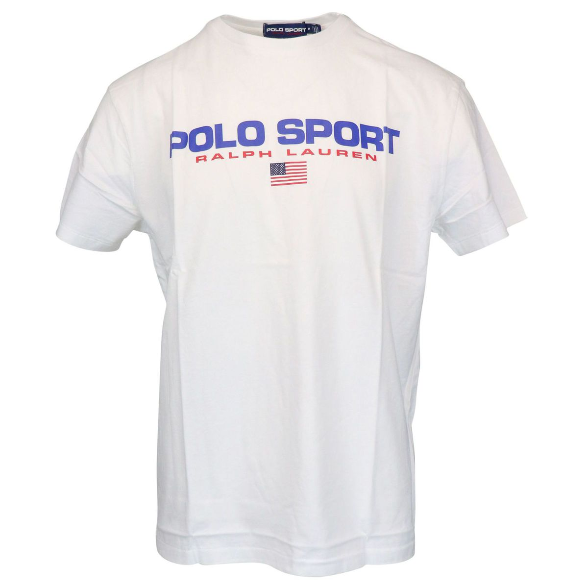 Crew-neck cotton T-shirt with contrasting logo print White Polo Ralph Lauren