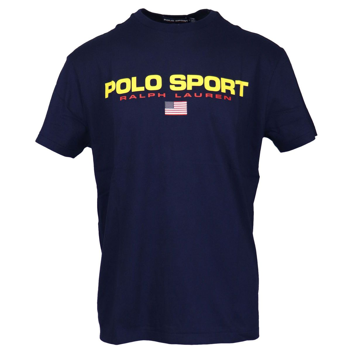 Crew-neck cotton T-shirt with contrasting logo print Navy Polo Ralph Lauren