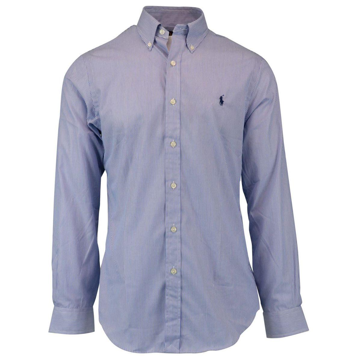 Slim-fit button-down striped cotton shirt Light blue Polo Ralph Lauren