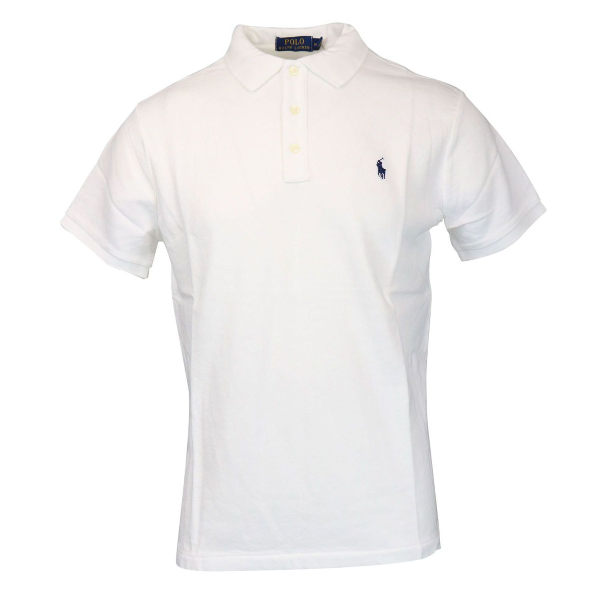 Three button cotton polo shirt with contrasting logo embroidery White Polo Ralph Lauren