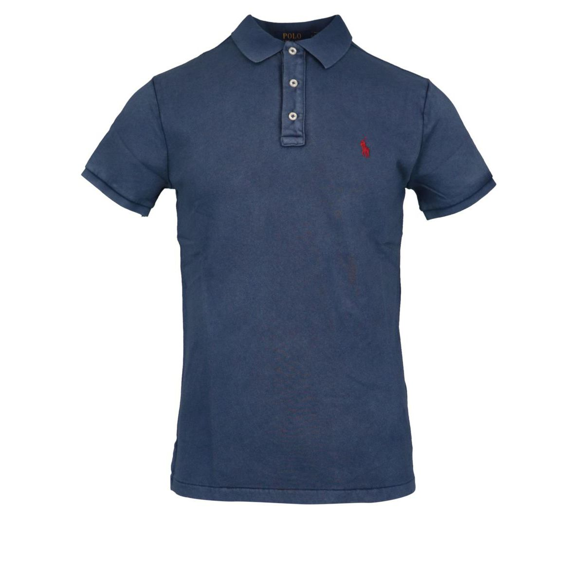 Three button cotton polo shirt with contrasting logo embroidery Navy Polo Ralph Lauren