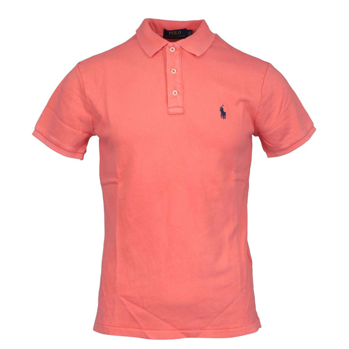 Three button cotton polo shirt with contrasting logo embroidery Salmon Polo Ralph Lauren