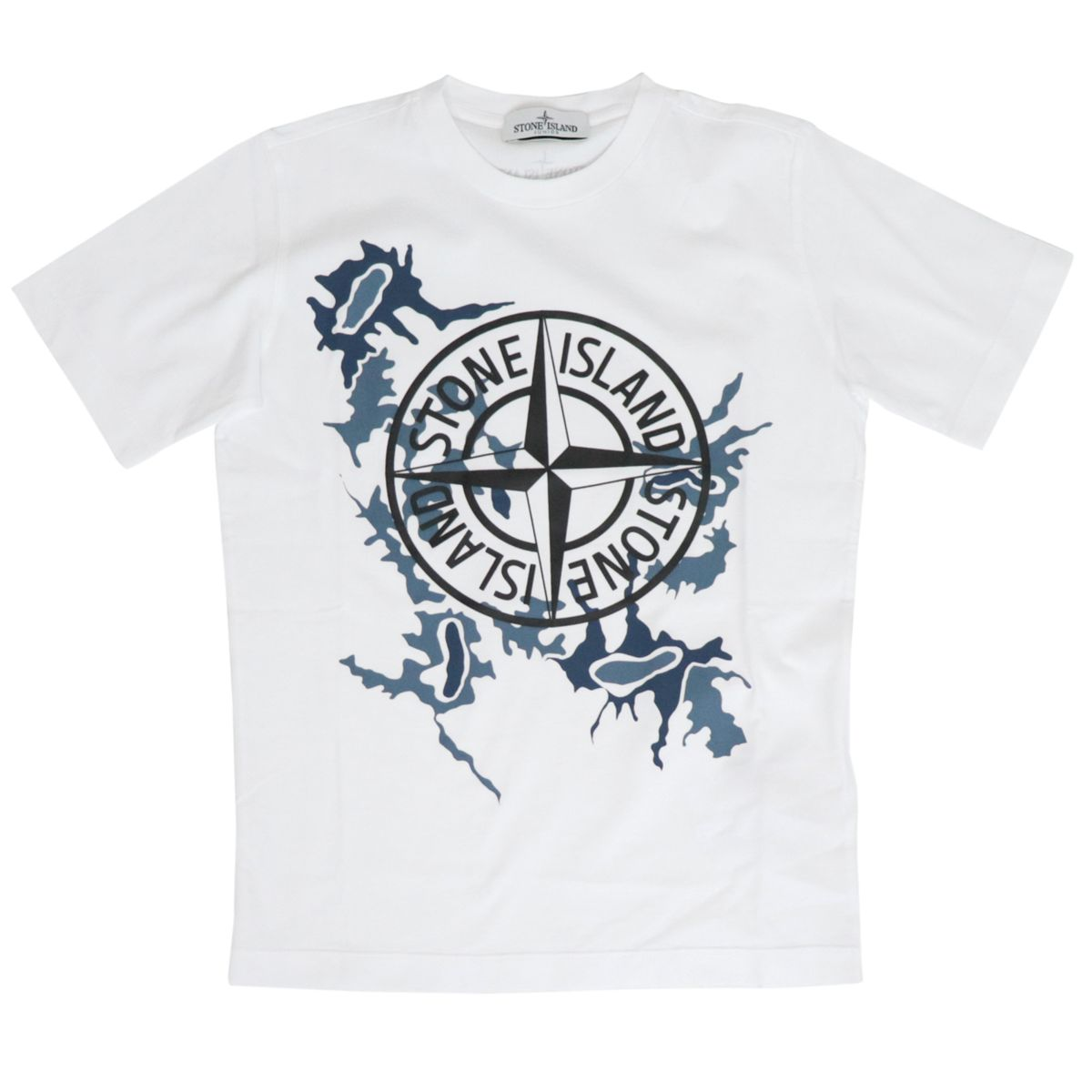 Short-sleeved cotton T-shirt with logo print White STONE ISLAND JUNIOR