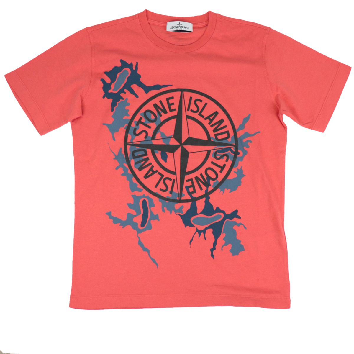 Short-sleeved cotton T-shirt with logo print Coral STONE ISLAND JUNIOR