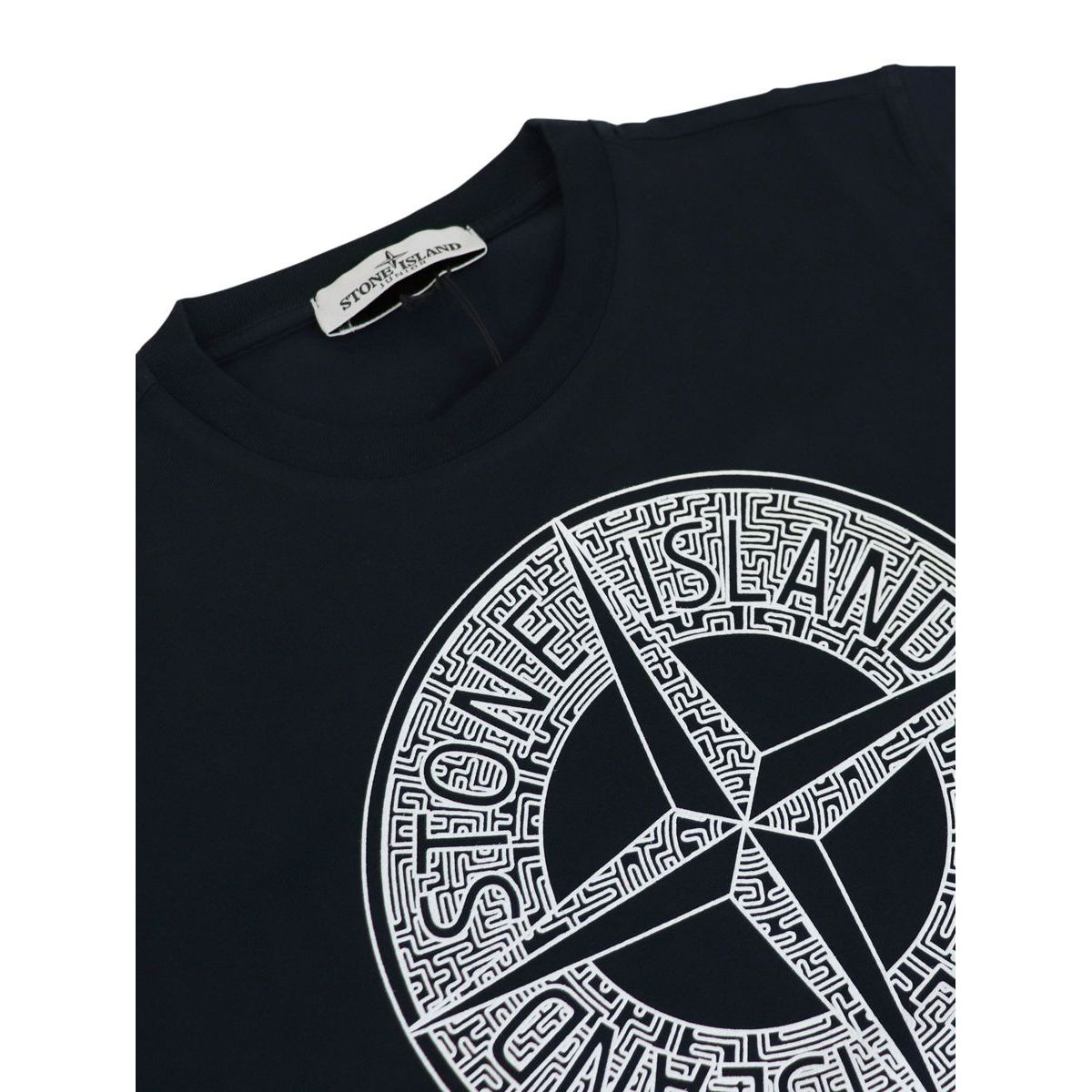 Cotton T-shirt with front logo print Blue STONE ISLAND JUNIOR