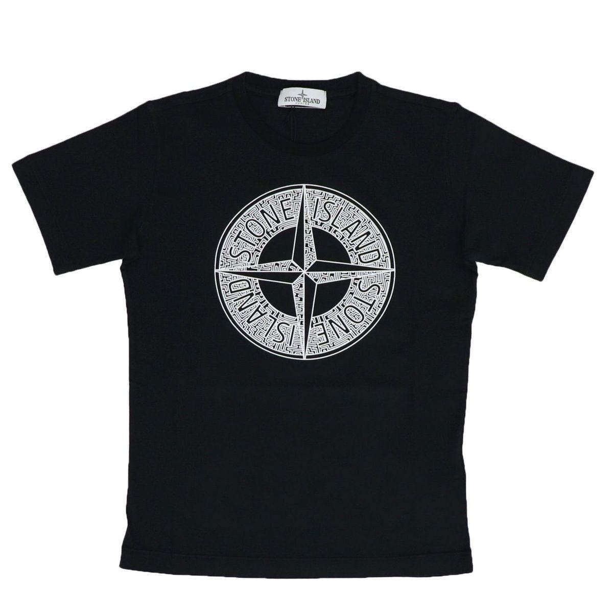 Cotton T-shirt with front logo print Black STONE ISLAND JUNIOR