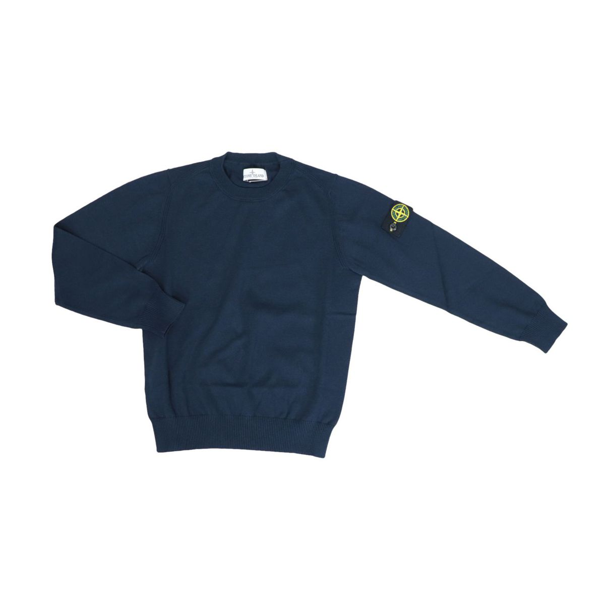 Crew neck cotton sweater with logo patch and ribbed profiles Blue STONE ISLAND JUNIOR