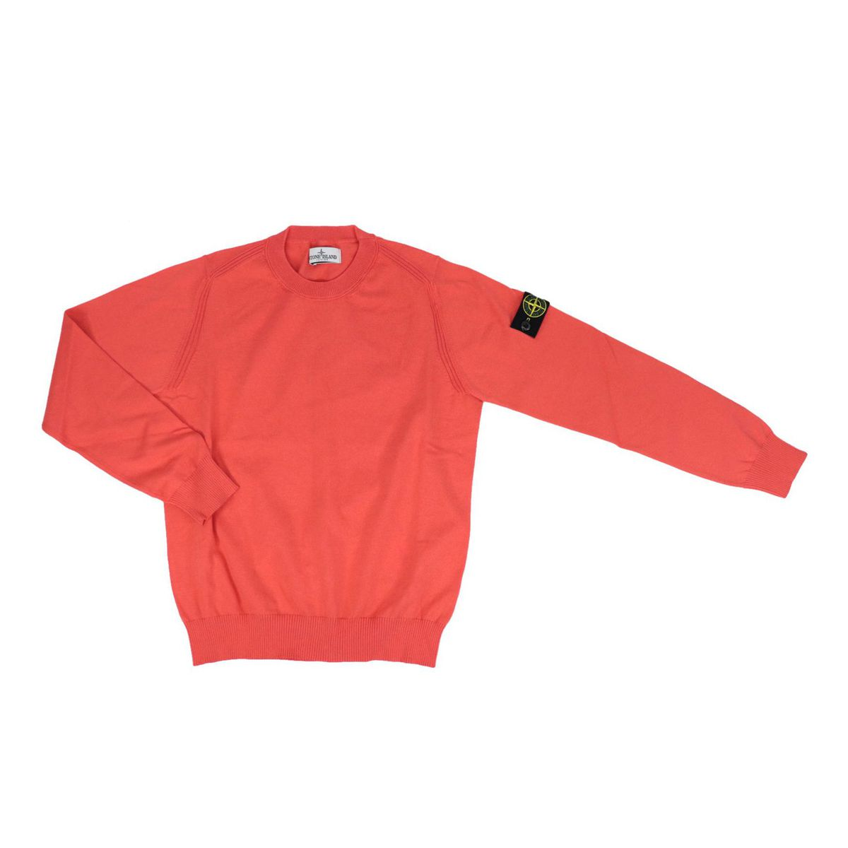 Crew neck cotton sweater with logo patch and ribbed profiles Coral STONE ISLAND JUNIOR