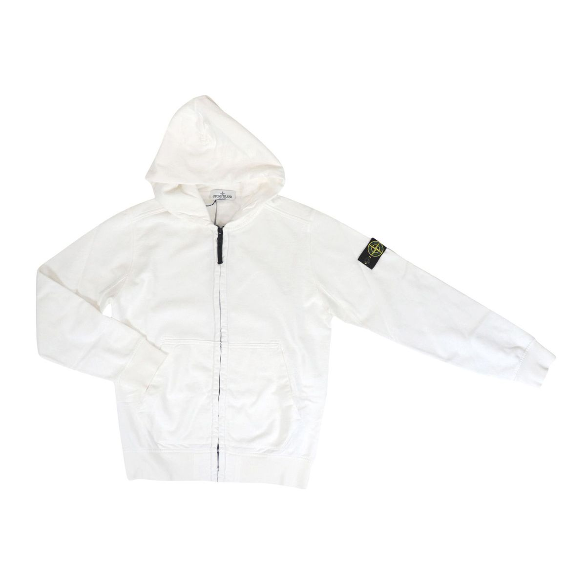 Full zip cotton sweatshirt with hood and logo patch on the sleeve White STONE ISLAND JUNIOR