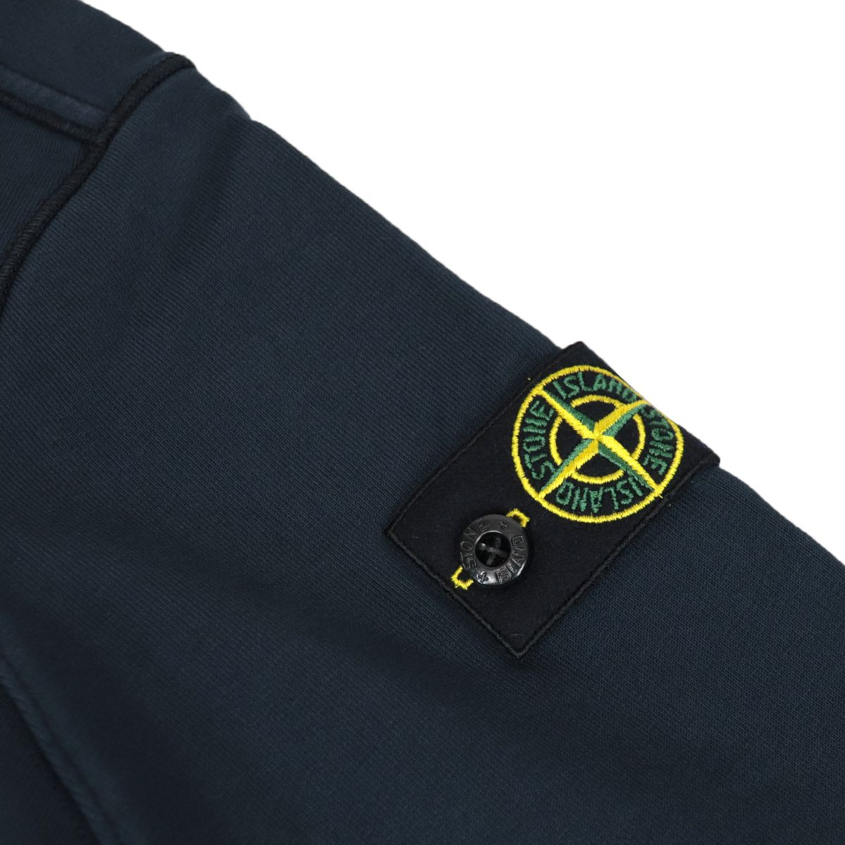 Full zip cotton sweatshirt with hood and logo patch on the sleeve Blue STONE ISLAND JUNIOR