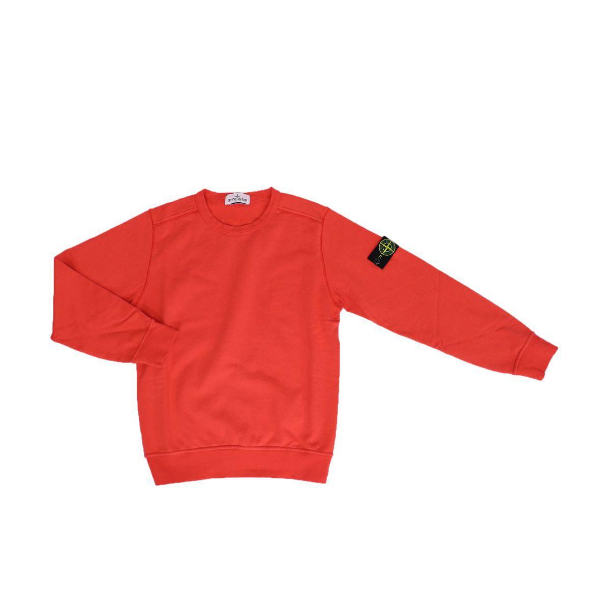 Crewneck cotton sweatshirt with logo patch Coral STONE ISLAND JUNIOR