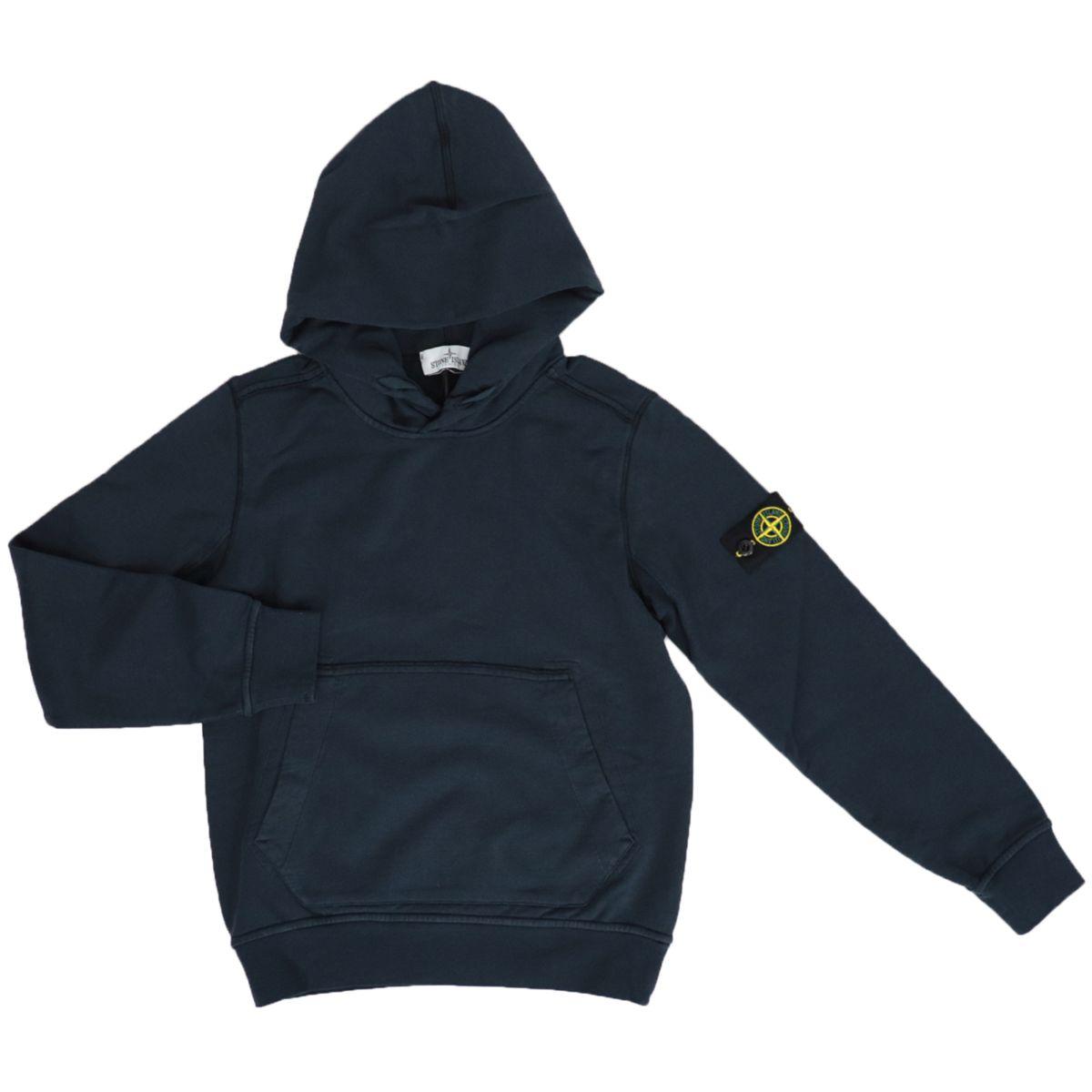 Cotton sweatshirt with hood and kangaroo pocket Blue STONE ISLAND JUNIOR