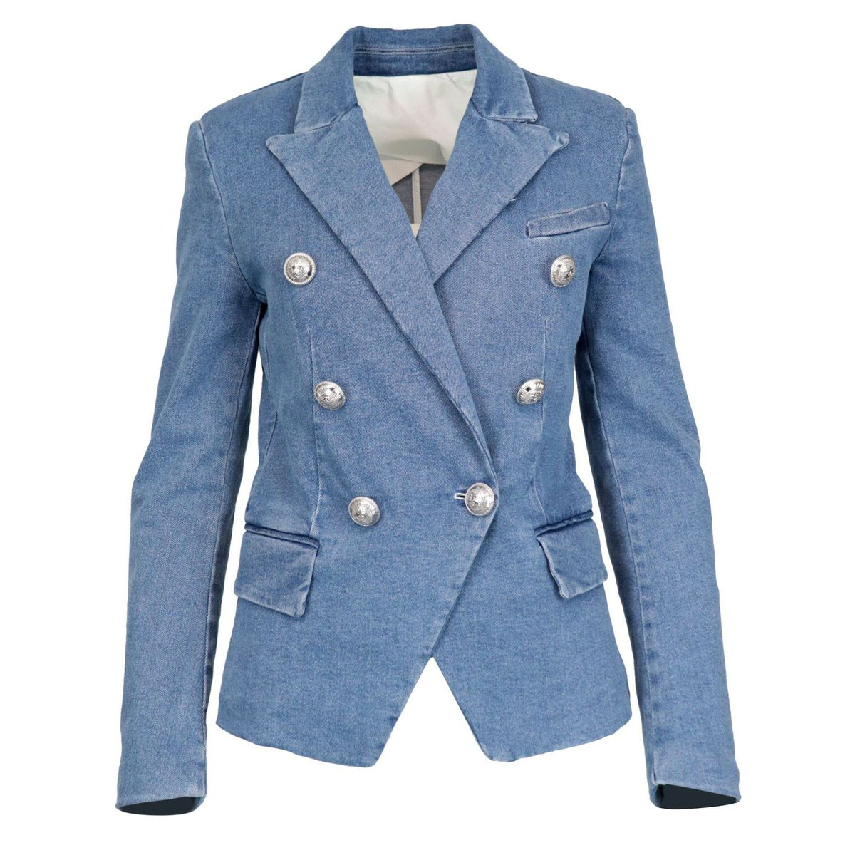 Double-breasted denim jacket with jewel buttons Light denim BALMAIN