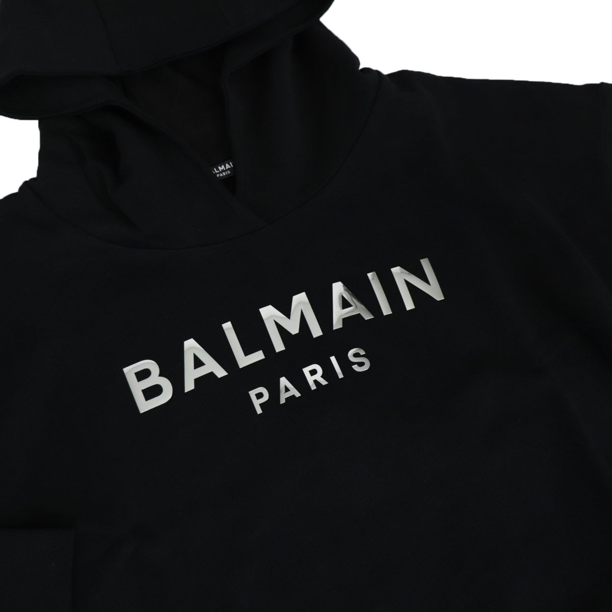 Cropped cotton sweatshirt with hood and logo print Black BALMAIN