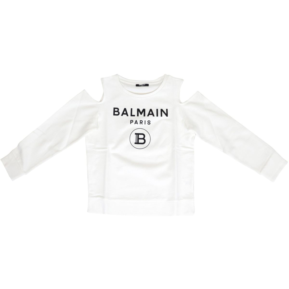 Sweatshirt with logo print and bare shoulders White BALMAIN