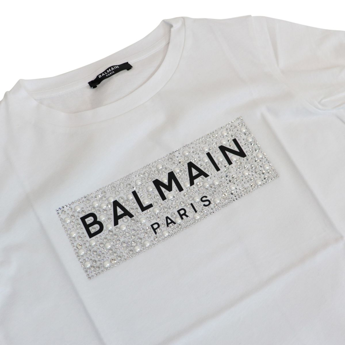 Cotton T-shirt with logo and rhinestone print White BALMAIN