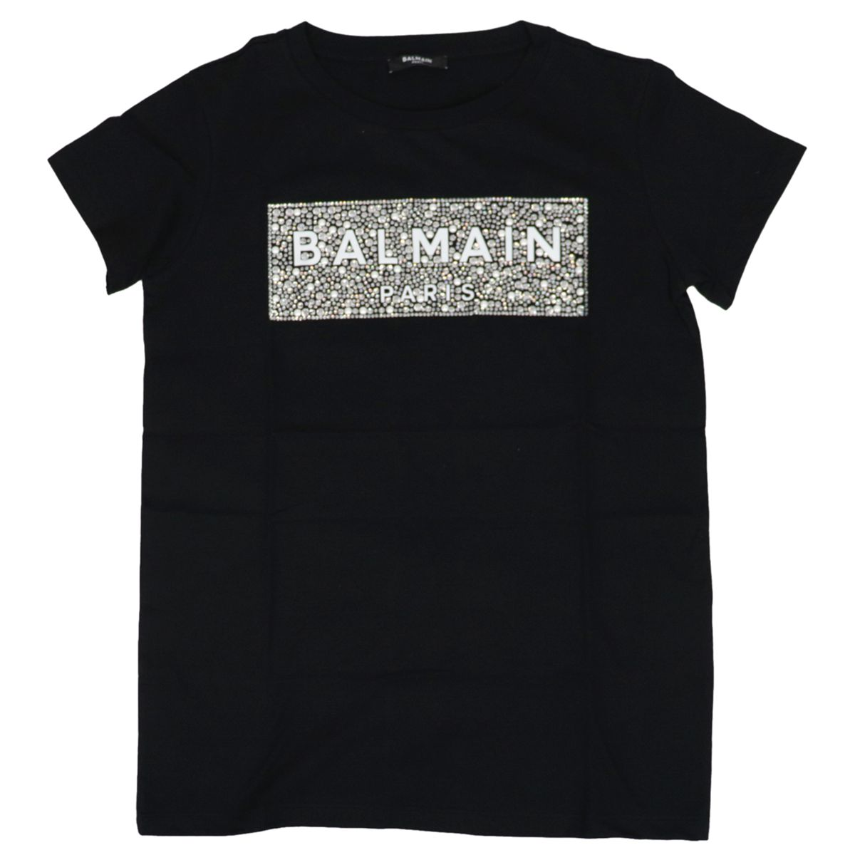 Cotton T-shirt with logo and rhinestone print Black BALMAIN
