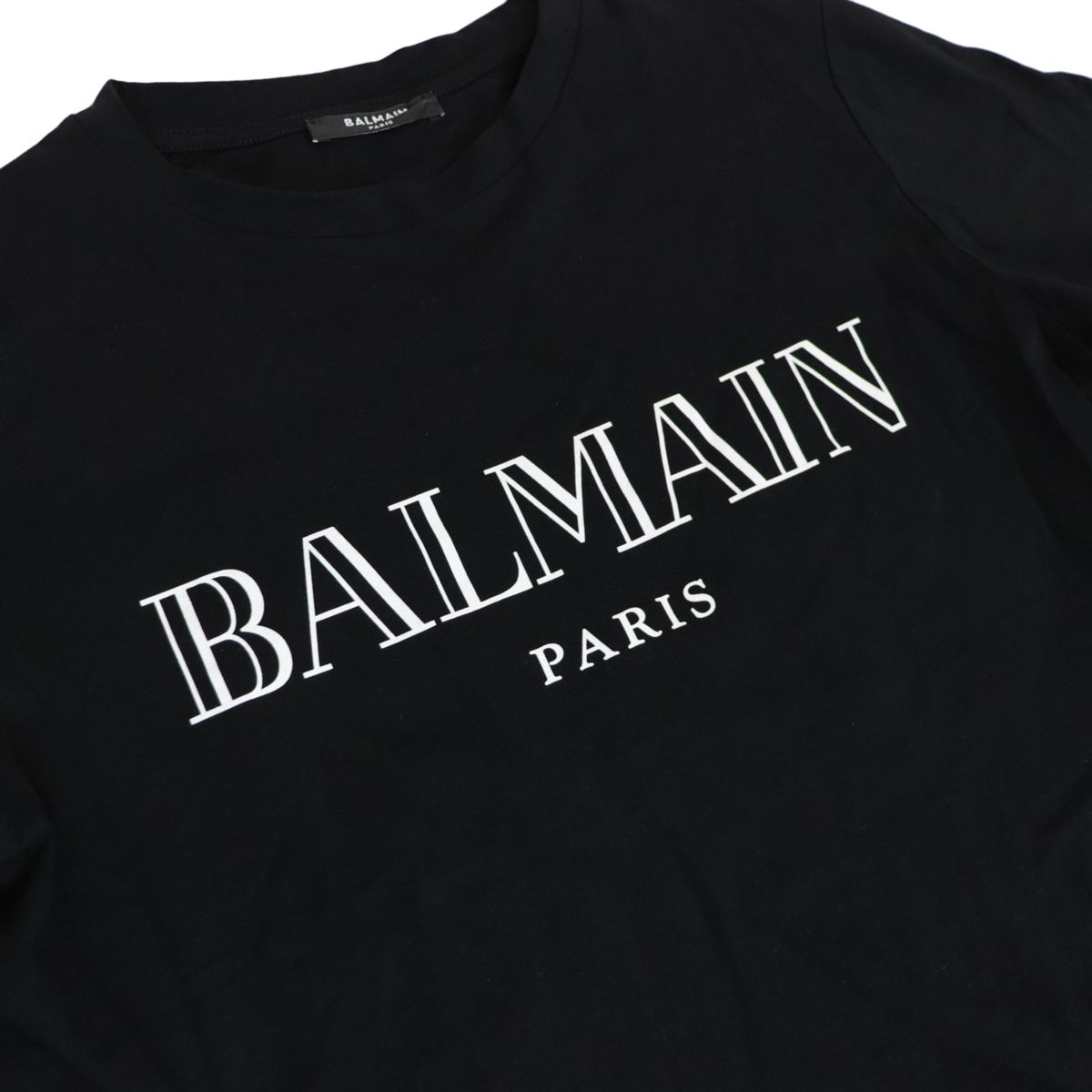 Cotton T-shirt with contrasting logo print Black BALMAIN