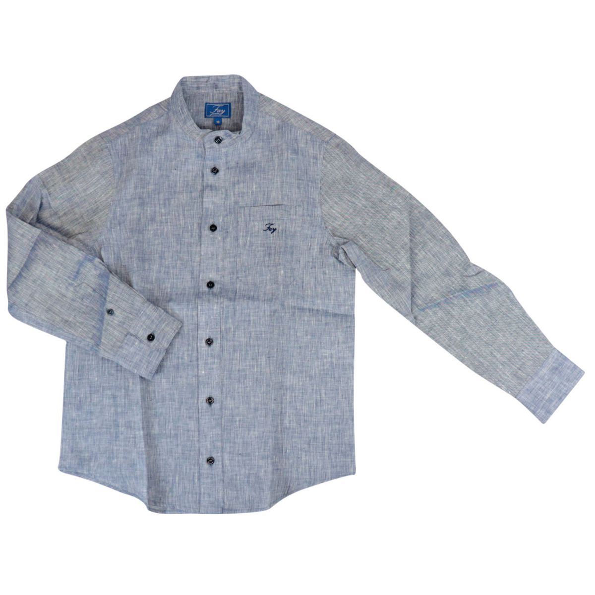 Linen shirt with guru collar and logo embroidery Light blue Fay