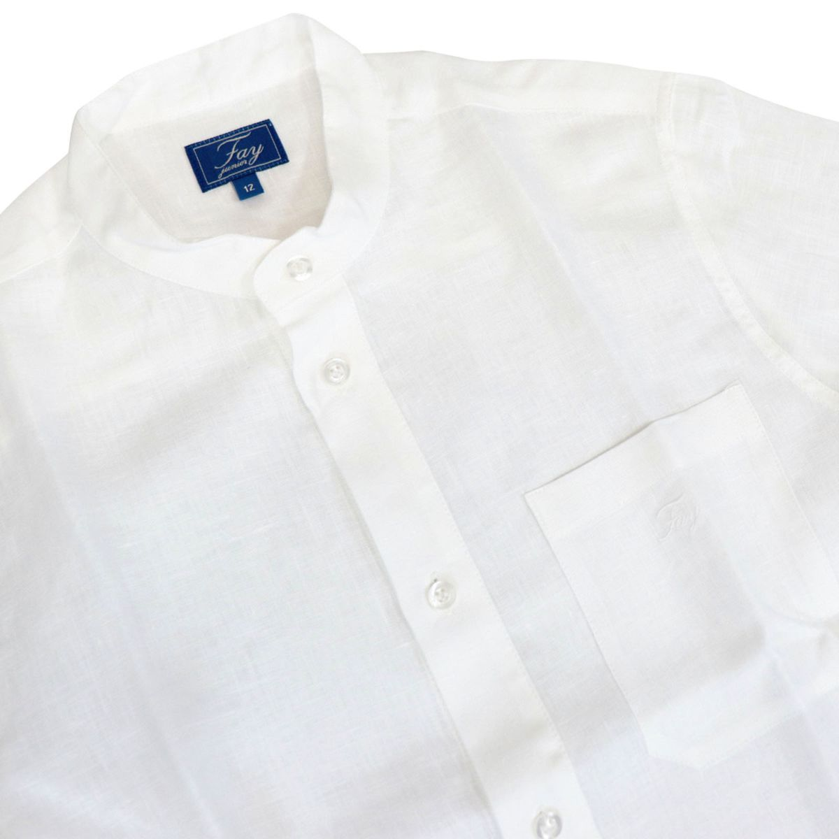 Linen shirt with guru collar and logo embroidery White Fay