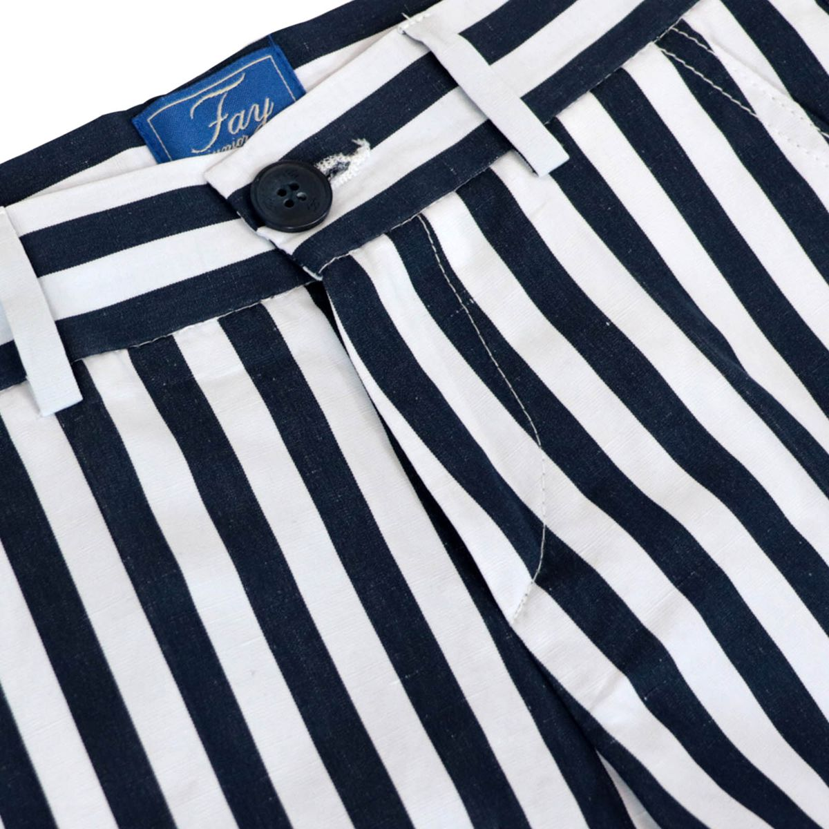 Striped cotton shorts with america pockets Blue lines Fay