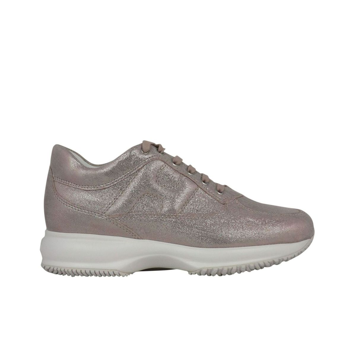 Interactive sneakers in laminated leather Pink gold Hogan