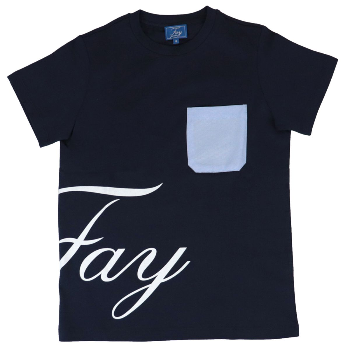 Cotton t-shirt with logo print and pocket Blue Fay