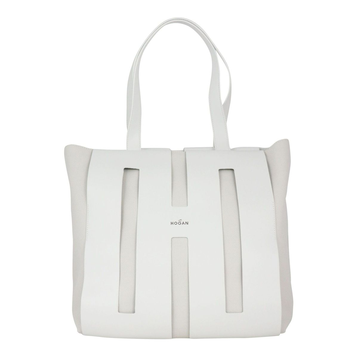 Shopping bag in leather and canvas White Hogan