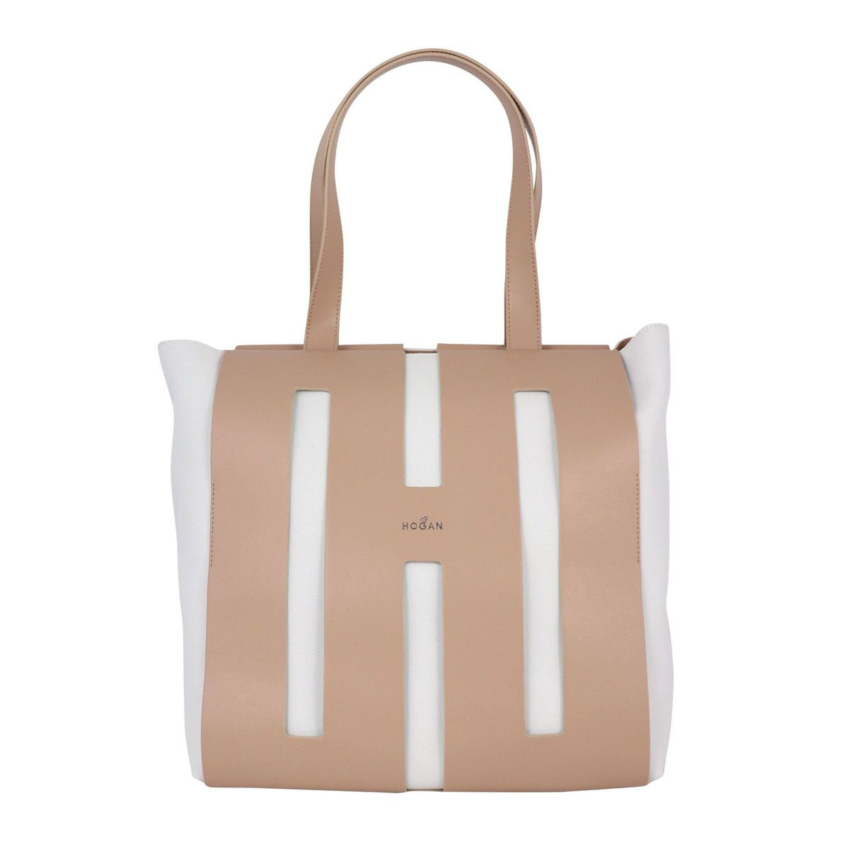 Shopping bag in leather and canvas White / beige Hogan