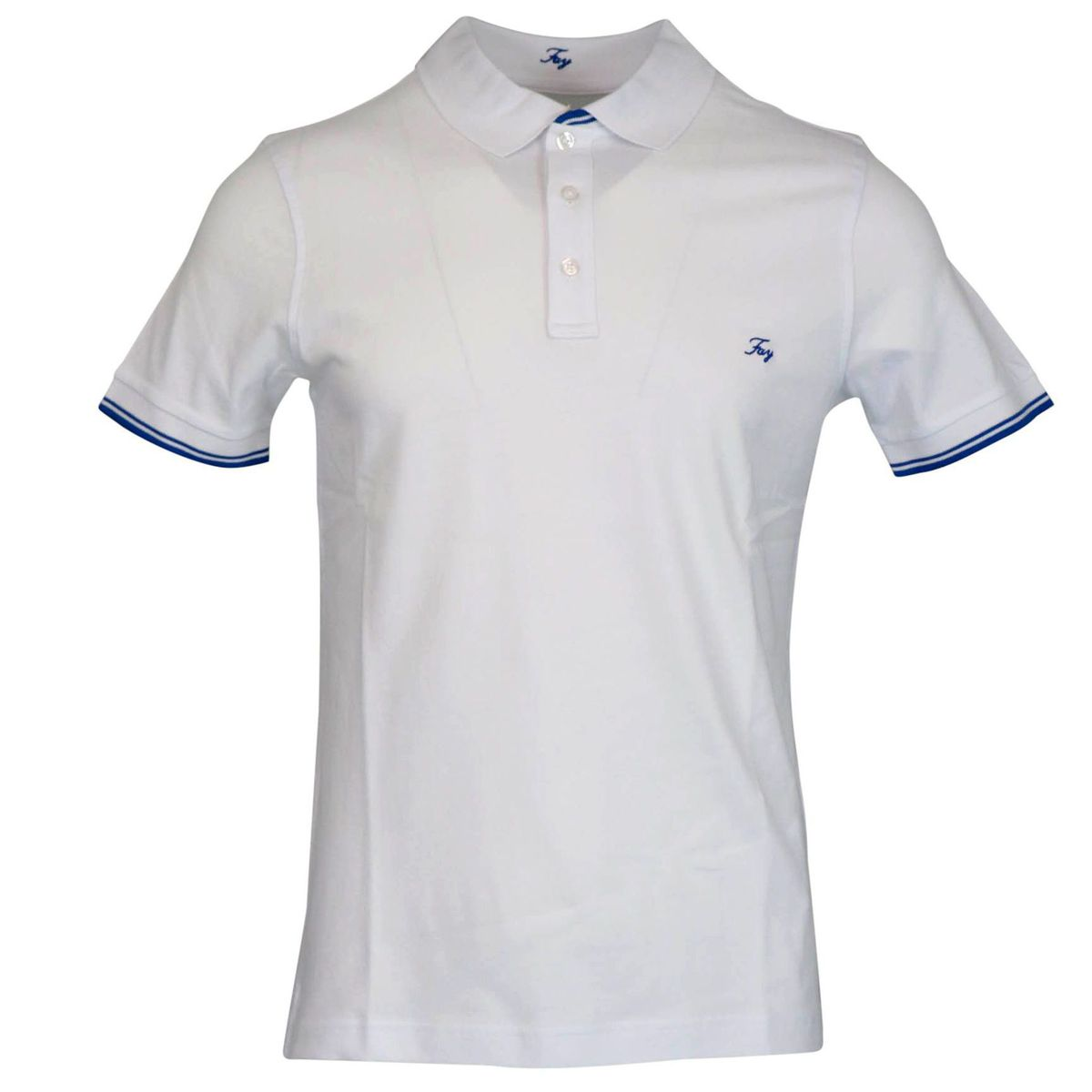 Stretch cotton polo shirt with logo embroidery White Fay