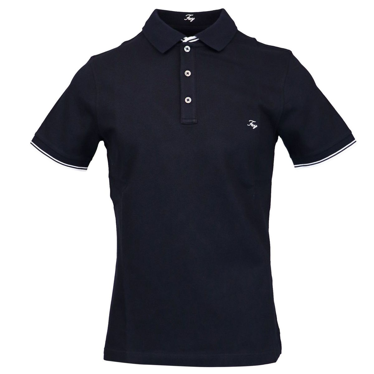 Stretch cotton polo shirt with logo embroidery Navy Fay