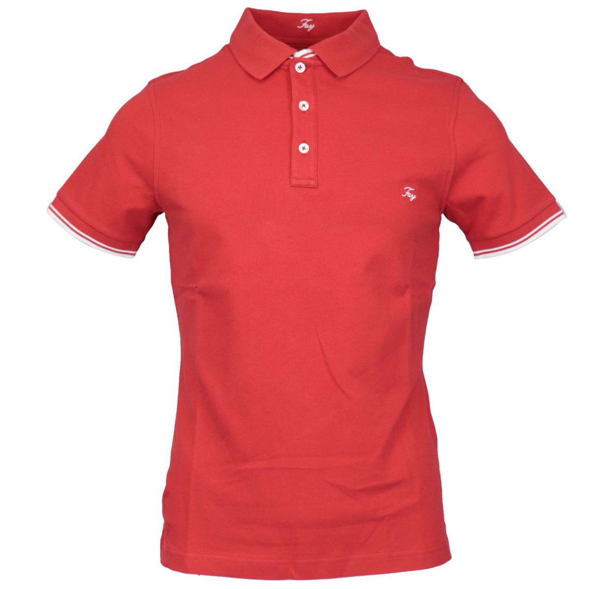 Stretch cotton polo shirt with logo embroidery Red Fay