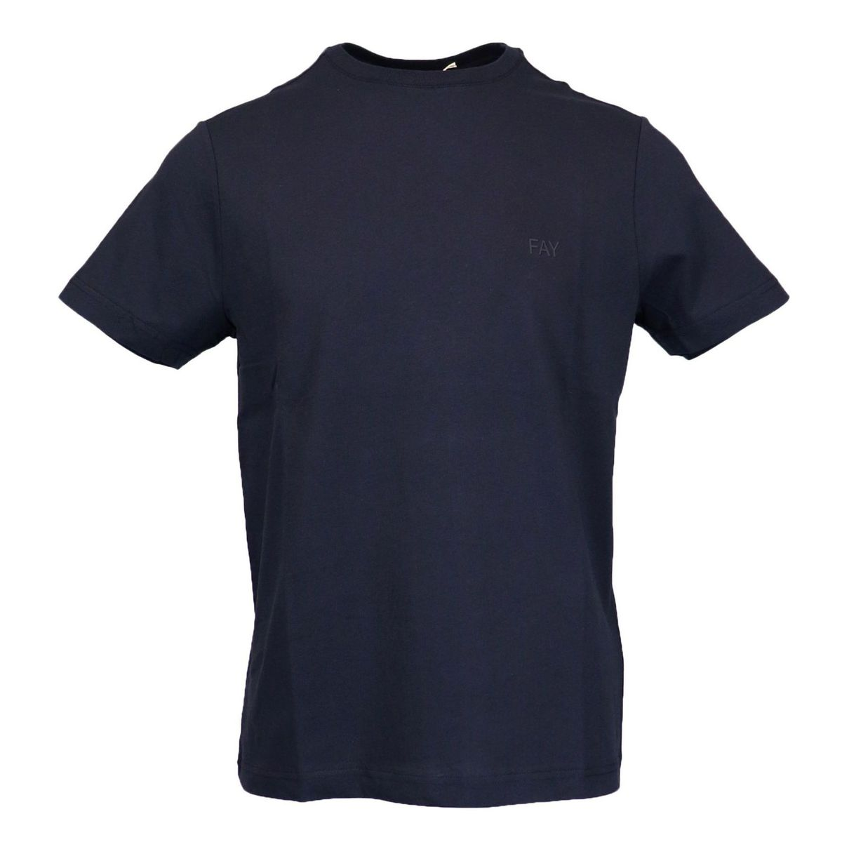 Cotton T-shirt with rubber logo Navy Fay