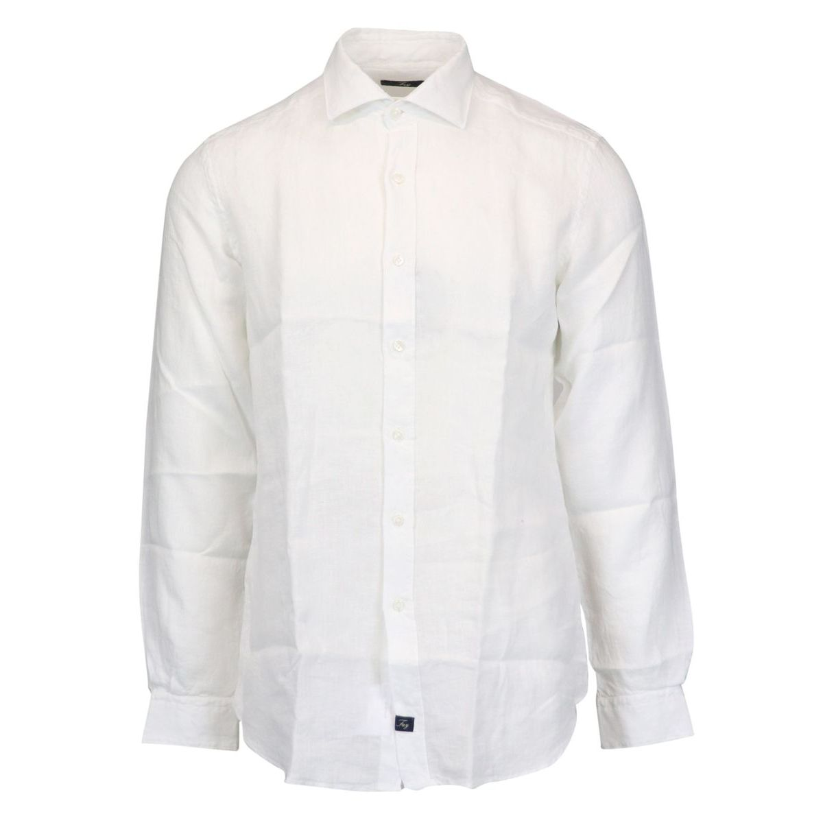 Slim-fit linen shirt with French collar White Fay