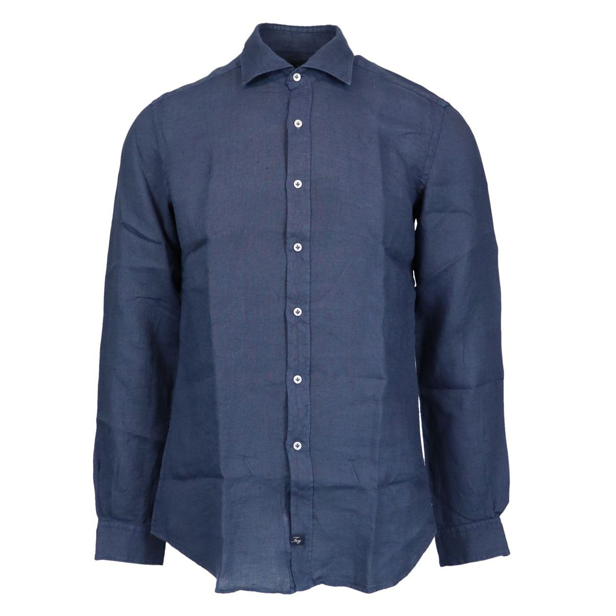 Slim-fit linen shirt with French collar Blue Fay