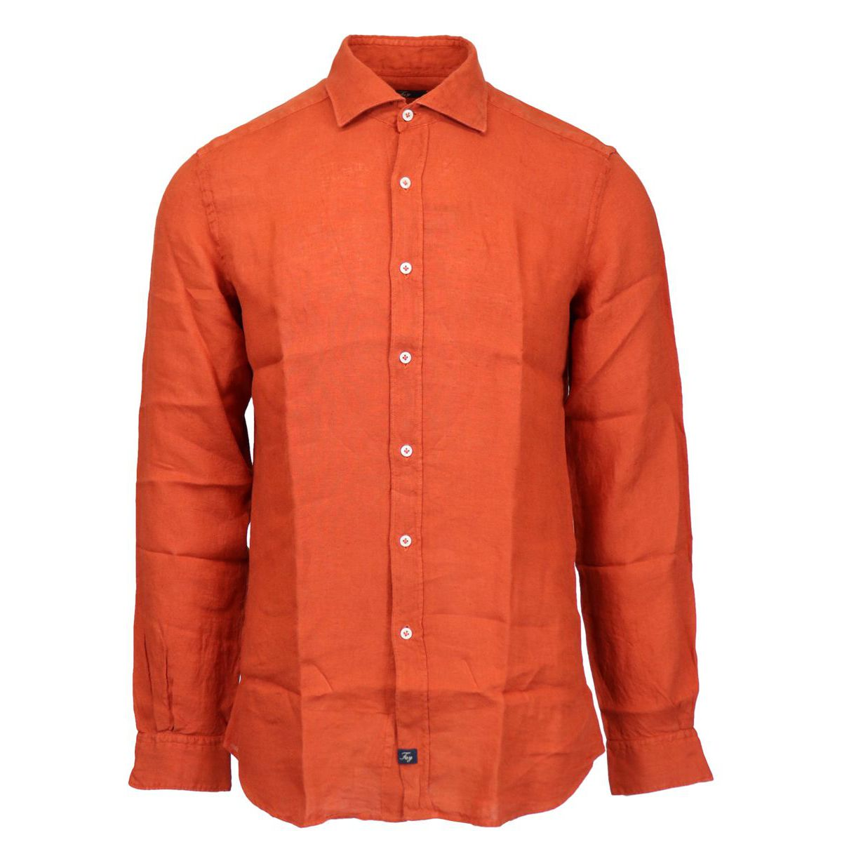 Slim-fit linen shirt with French collar Cotto Fay