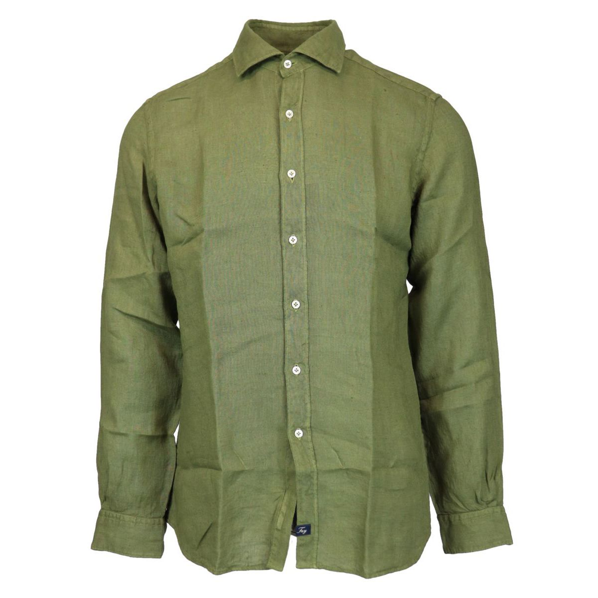 Slim-fit linen shirt with French collar Olive Fay