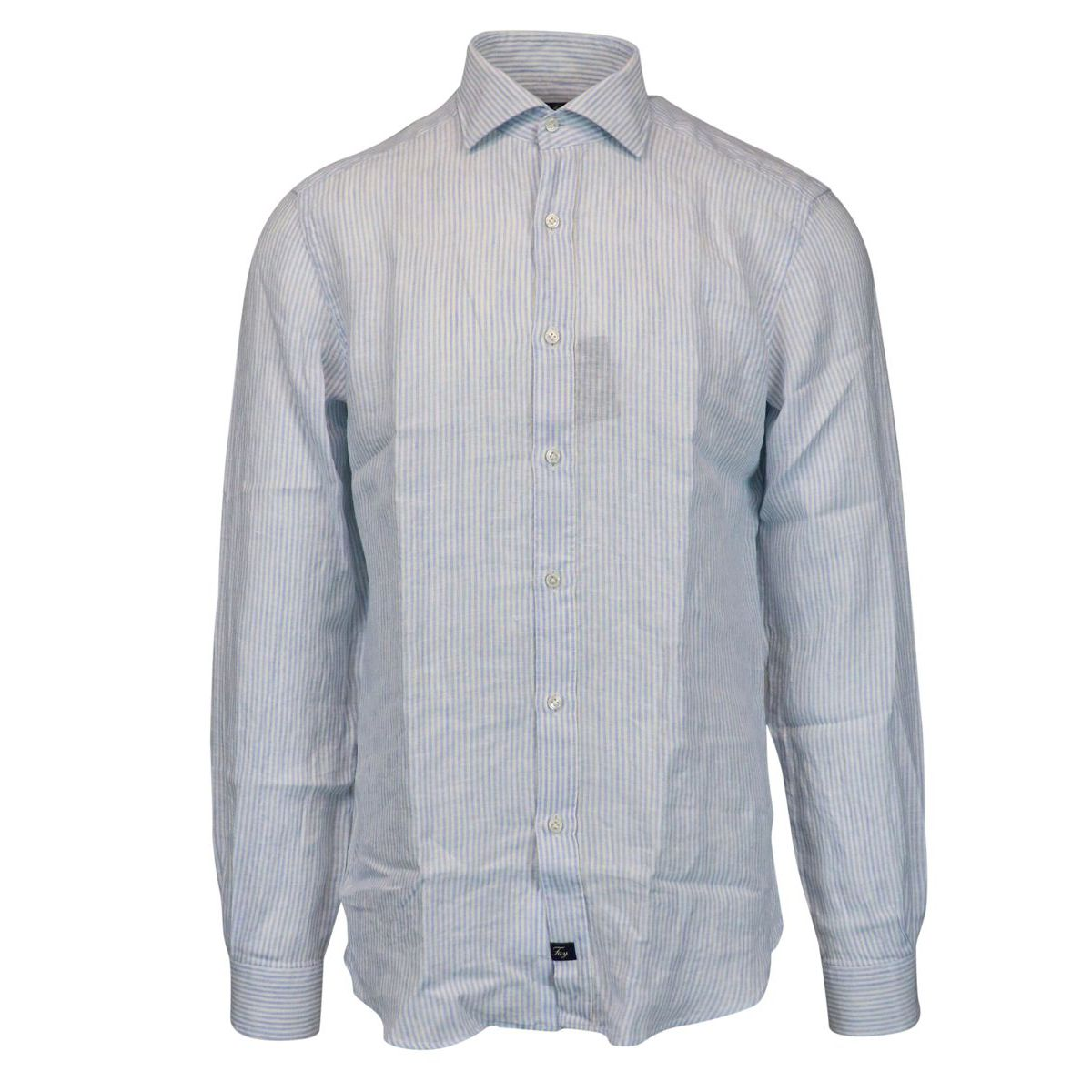 Slim-fit striped linen shirt with French collar White / light blue Fay