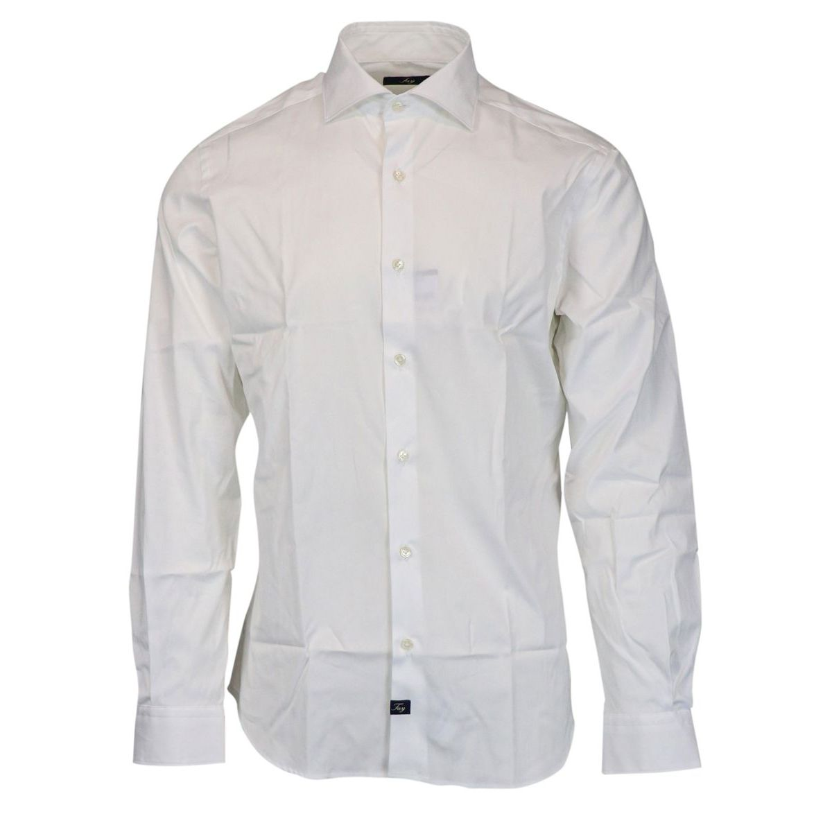 Slim-fit cotton shirt with French collar White Fay