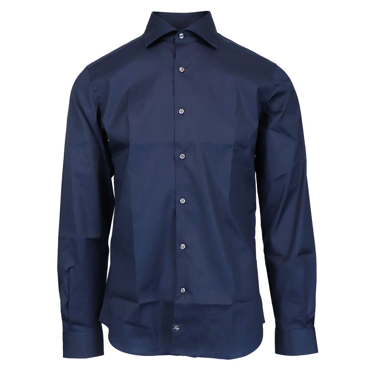 Slim-fit cotton shirt with French collar Navy Fay
