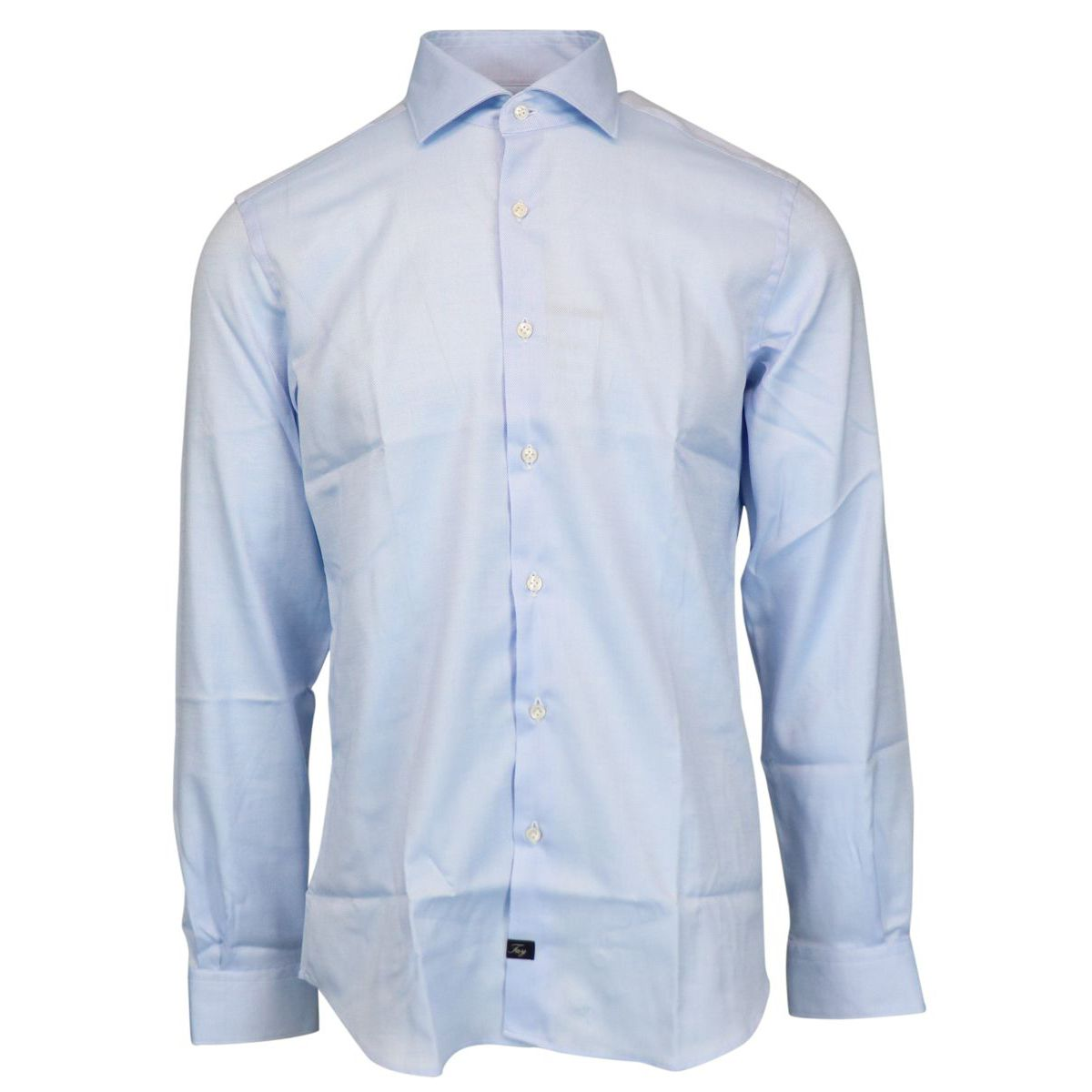 Slim-fit cotton shirt with French collar Sky Fay