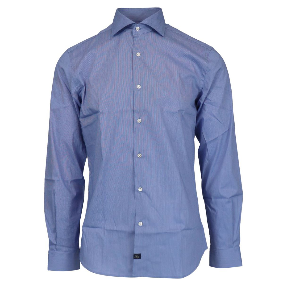 Slim-fit cotton shirt with French collar Light blue Fay