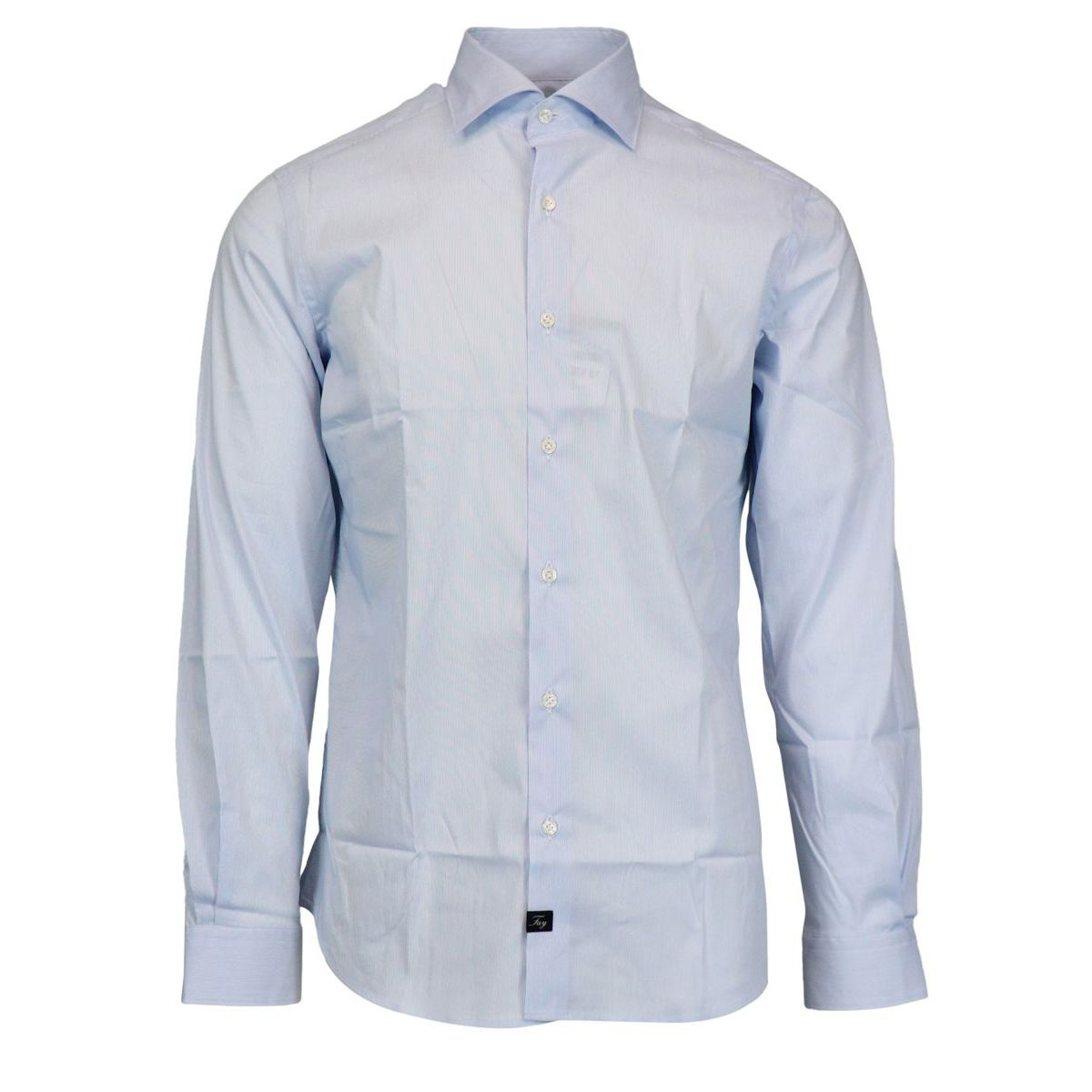 Slim cotton shirt with French collar Sky Fay