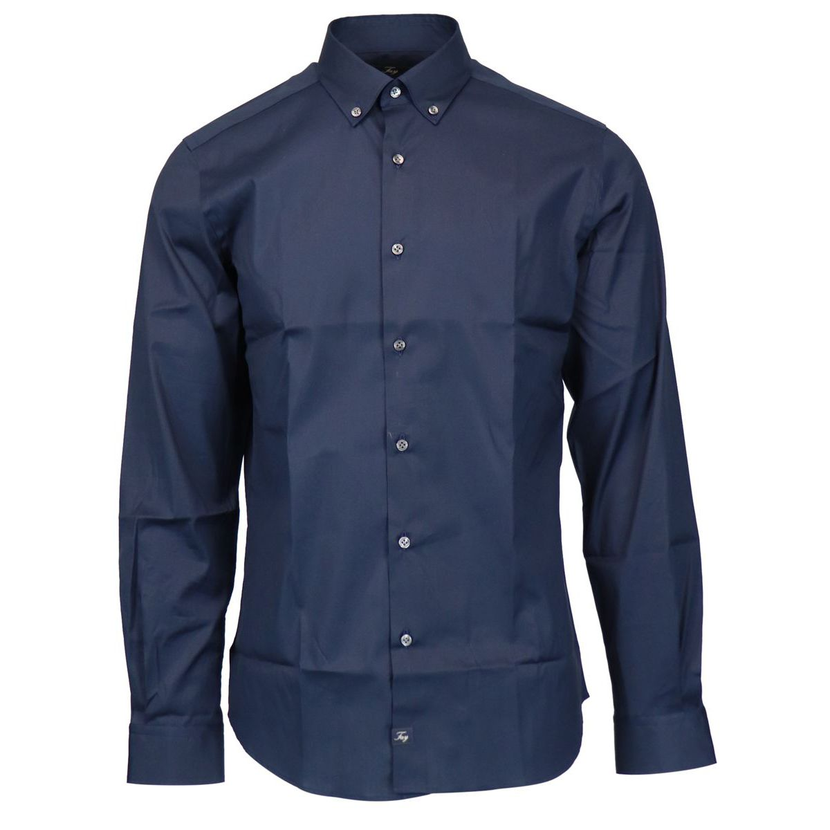 Button-down shirt in slim-fit cotton Navy Fay