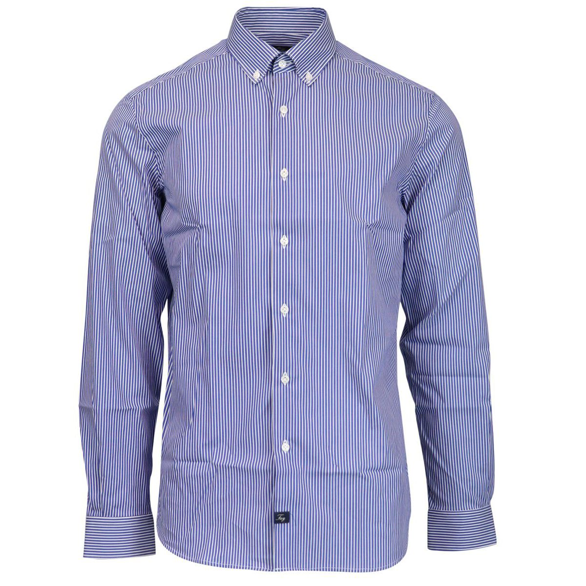 Striped slim-fit button-down shirt in cotton B.co/blu Fay