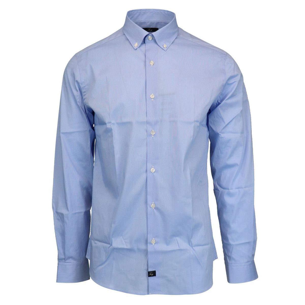 Slim-fit button-down cotton shirt Sky Fay