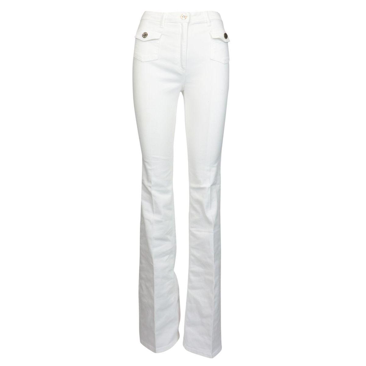 Jeans slim con tasche e bottoni Bianco Elisabetta Franchi