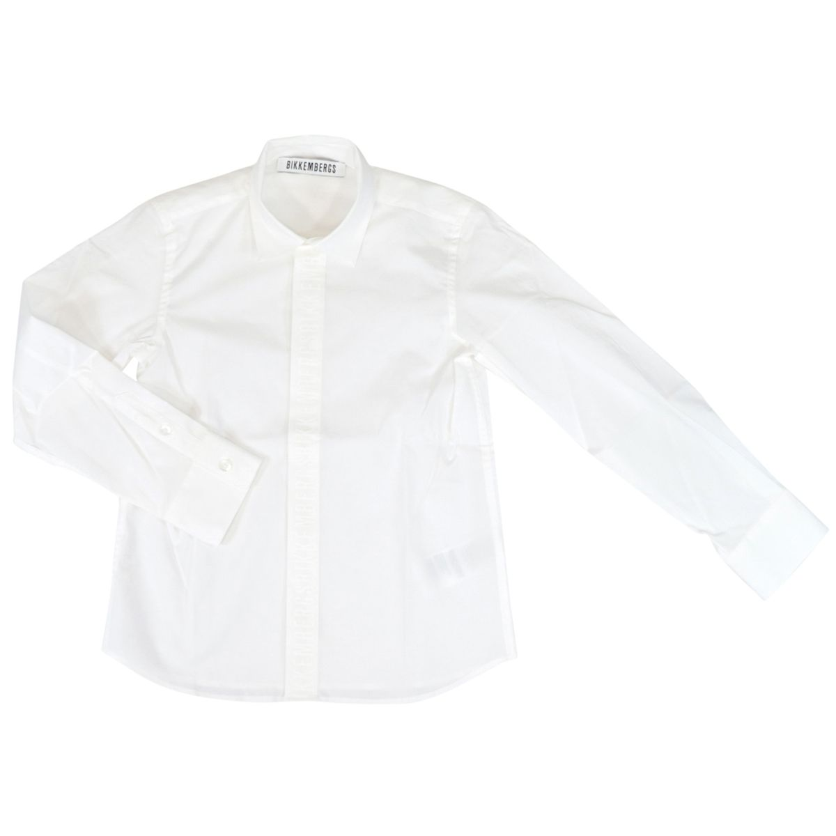 Slim cotton shirt with pointed collar White Bikkembergs