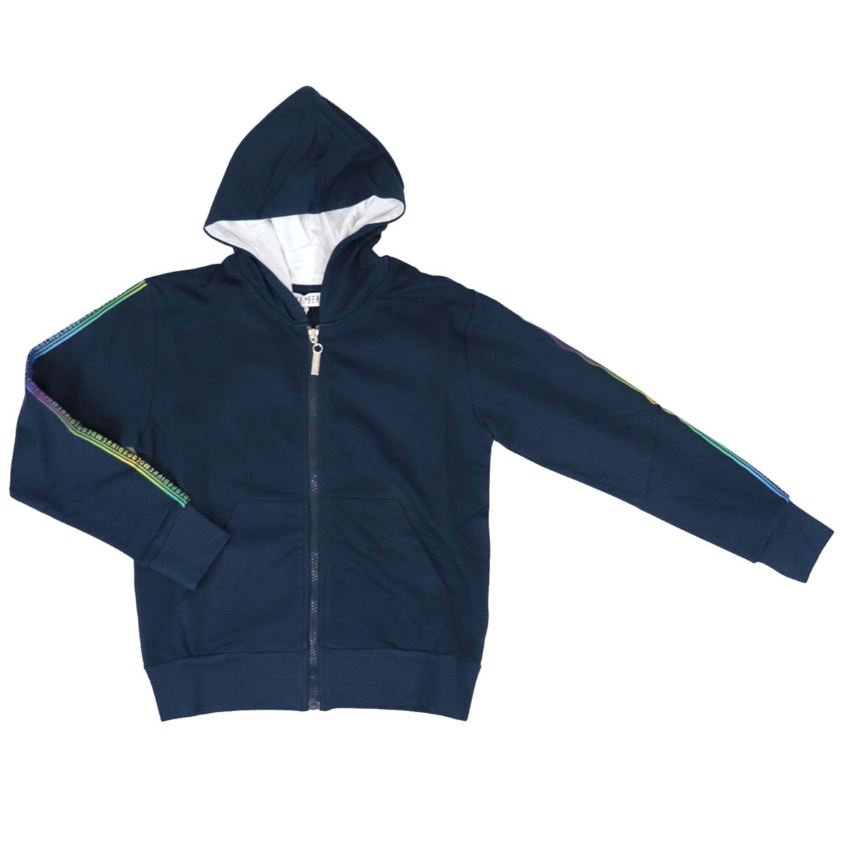 Cotton sweatshirt with hood and multicolor logo on sleeves Blue Bikkembergs